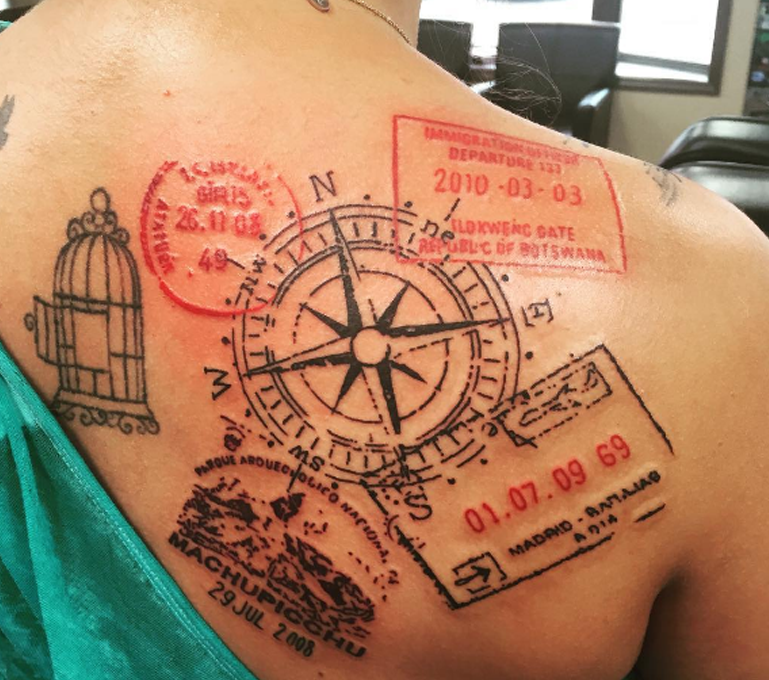 visa stamp tattoo