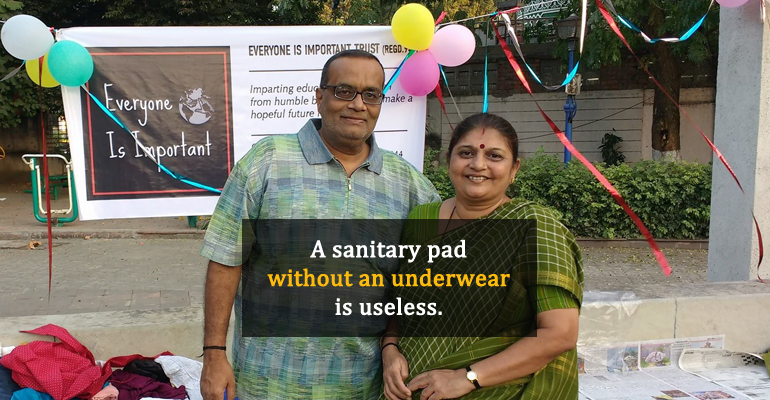Meena Mehta and atul mehta distribute sanitary pads
