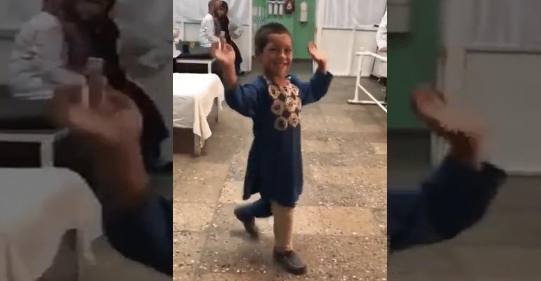 Afghan Boy Dances With Prosthetic Leg