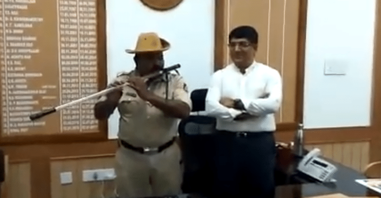 52-YO Police Constable Converts Lathi Into A Flute, Internet Lauds Him For Creativity